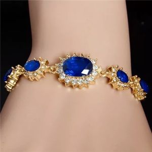 ❤️gorgeous Sapphire rhinestone gold bracelet